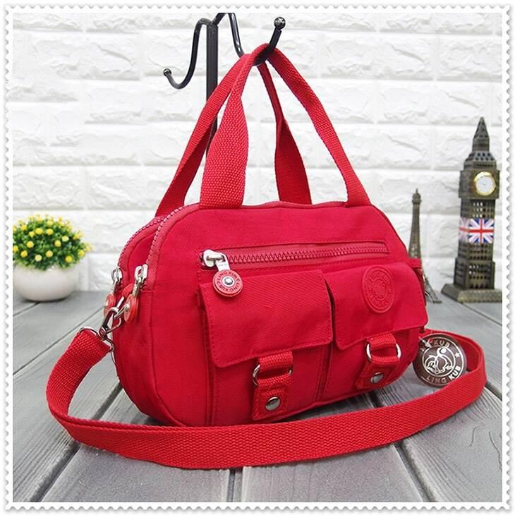 กระเป๋าเนื้อ kipling + สะพาย ใบเล็ก สีแดง