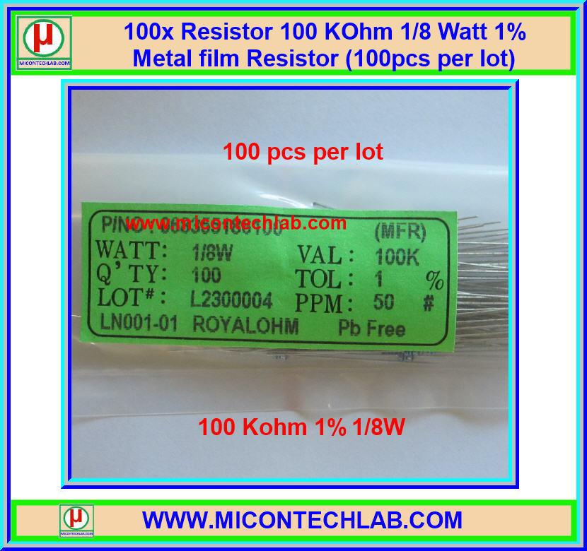 100x Resistor 100 Kohm 1/8 Watt 1% Metal film Resistor (100pcs per lot)