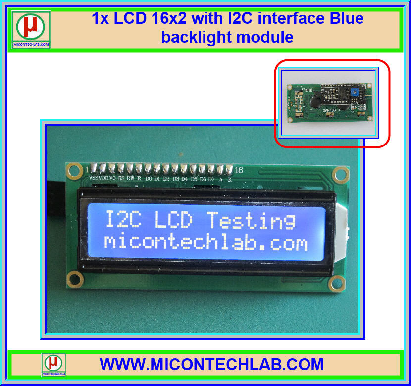 1x LCD 16x2 with I2C interface Blue backlight module