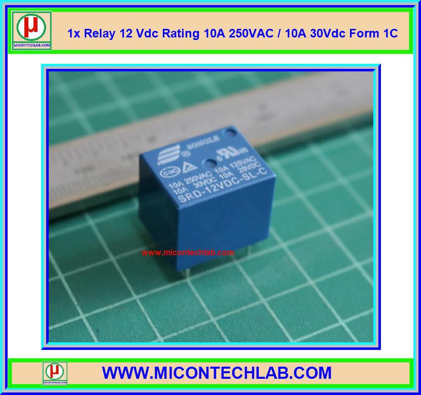 1x Relay 12 Vdc Rating 10A 250VAC / 10A 30Vdc Form 1C