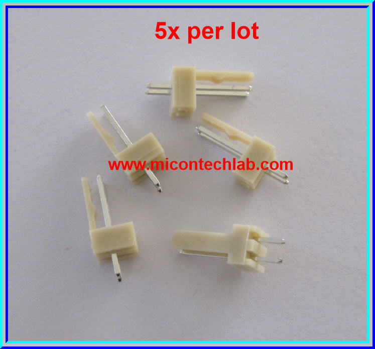 5x WAFER CONNECTOR 2 PINS STRAIGHT PIN 2.54mm (5 pcs per lot)