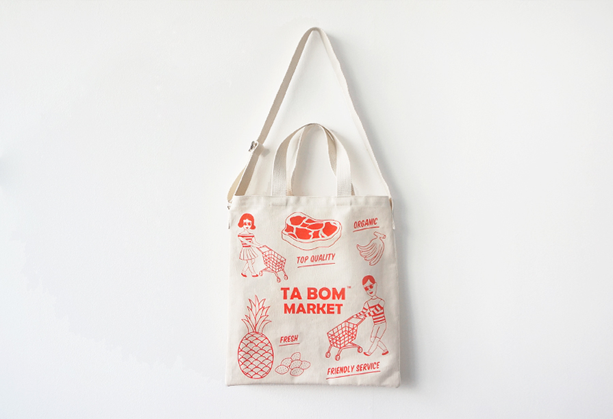 TABOM MARKET RED TWO-WAY BAG