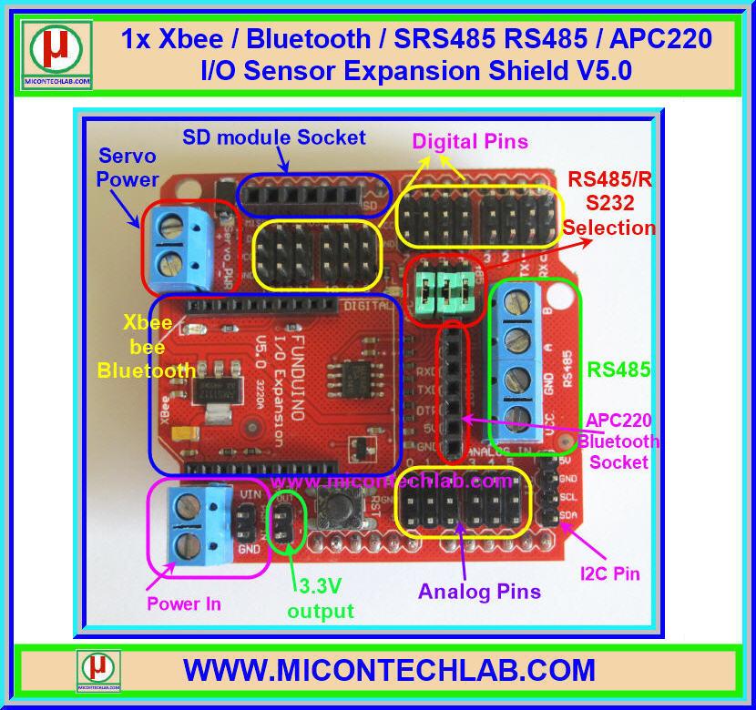 1x Xbee / Bluetooth / SRS485 RS485 / APC220 I/O Sensor Expansion Shield V5.0