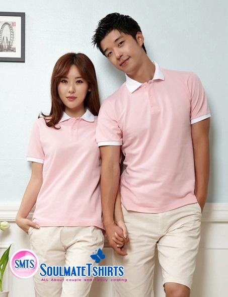 เสื้อคู่โปโล เสื้อคู่รัก ชุดพรีเวดดิ้ง ชุดคู่รัก เสื้อคู่รักเกาหลี เสื้อผ้าแฟชั่น ชาย-หญิง เสื้อโปโล สีชมพูสดใส ปกเสื้อสีขาว