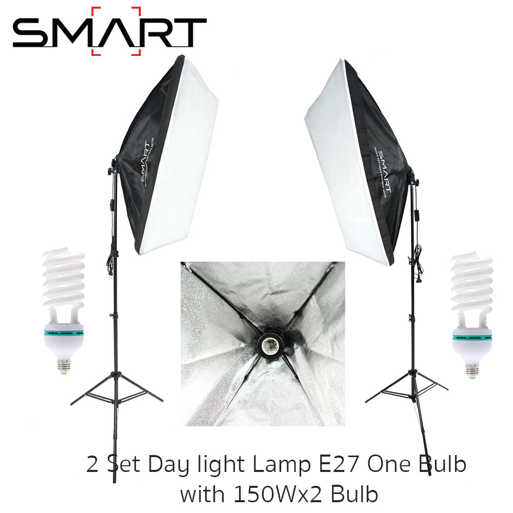 Light Set with 2 Set Day light Lamp E27 One Bulb Holder With Softbox 50x70cm + 150W*2 Bulb