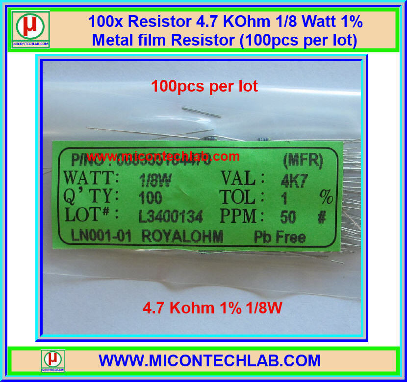 100x Resistor 4.7 Kohm 1/8 Watt 1% Metal film Resistor (100pcs per lot)