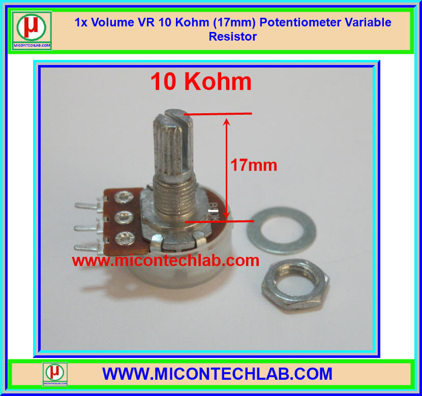 1x Volume VR 10 Kohm (17mm) Potentiometer Variable Resistor
