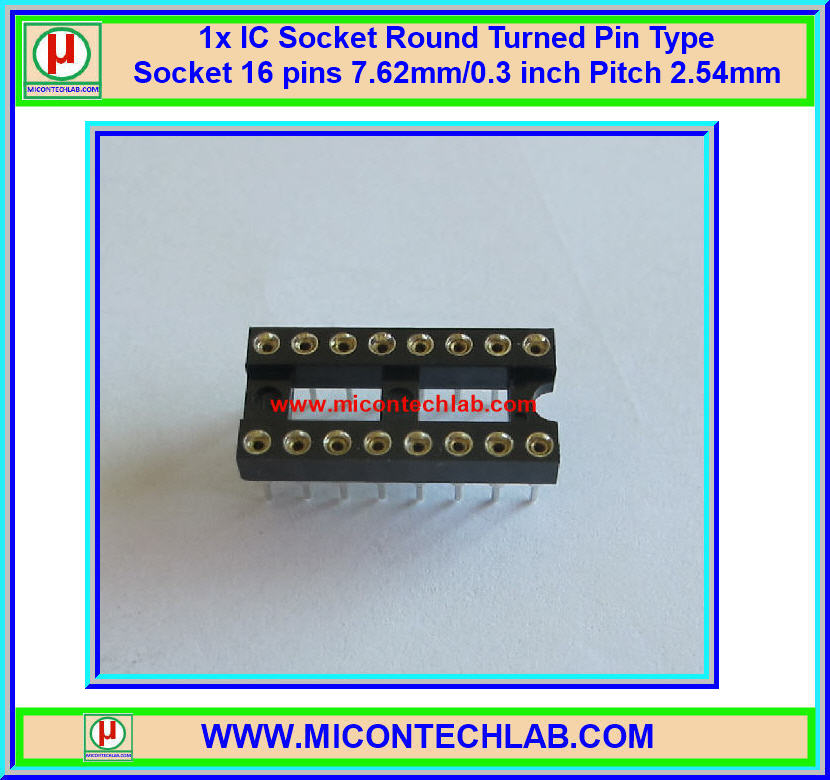 1x IC Socket 16 Pin Round Turned Pin Type 7.62mm/0.3 inch Pitch 2.54mm