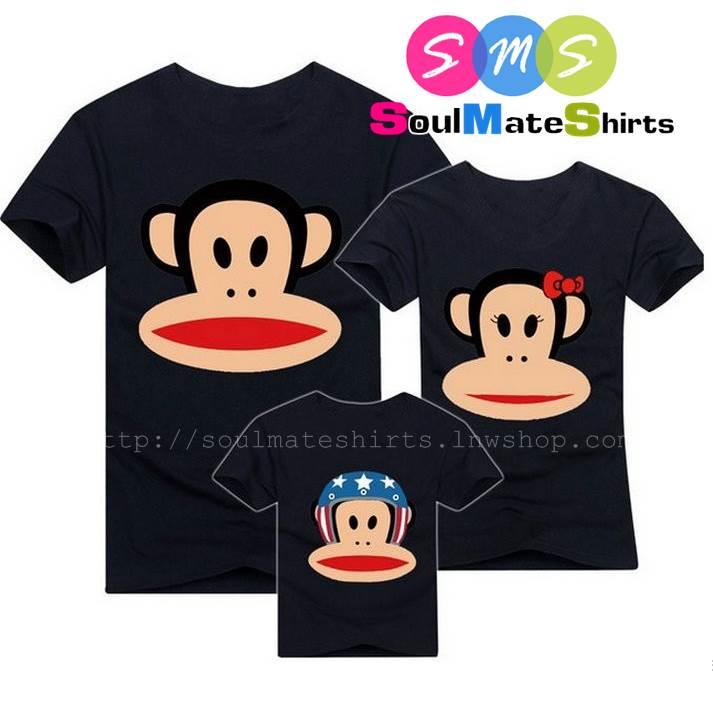 เสื้อครอบครัว ชุดครอบครัว เสื้อ พ่อ แม่ ลูก ลายลิงพอลแฟรงค์ สีดำ ผลิตจากผ้าคอตตอน 100%