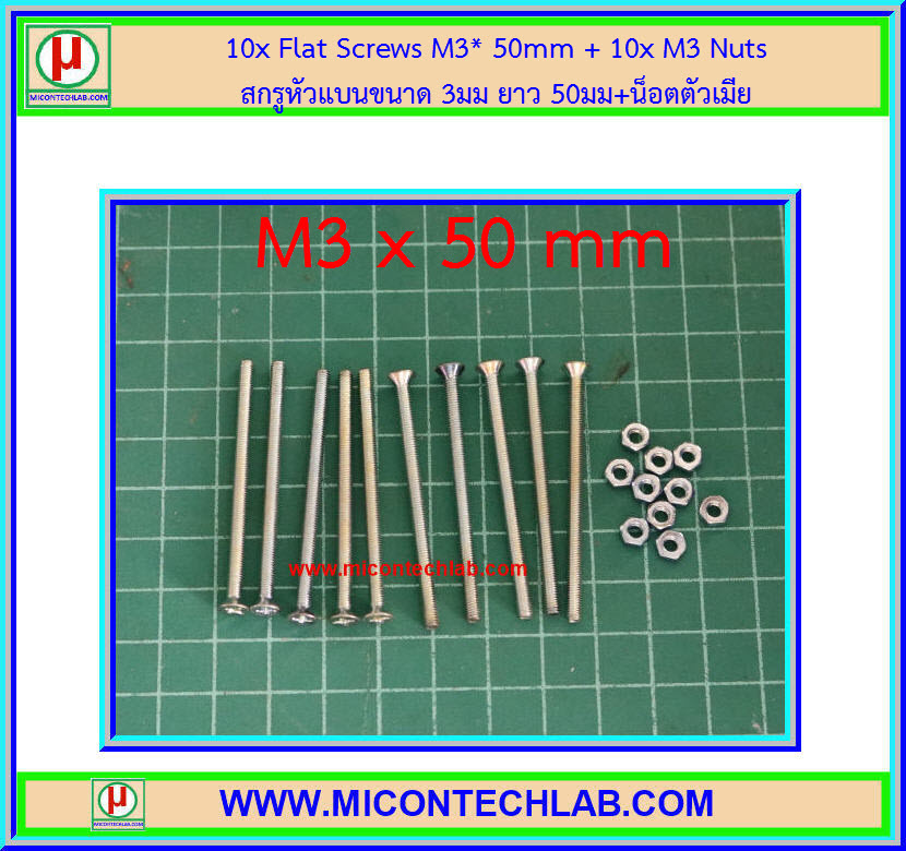 10x Flat Screws M3* 50mm + 10x M3 Nuts (สกรูหัวแบนขนาด 3มม ยาว 50มม+น็อตตัวเมีย )