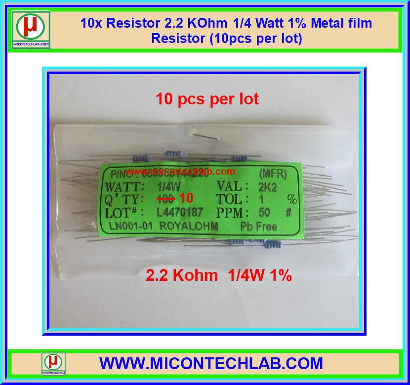 100x Resistor 2.2 KOhm 1/4 Watt 1% Metal film Resistor (100pcs per lot)