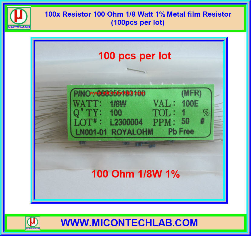 100x Resistor 100 Ohm 1/8 Watt 1% Metal film Resistor (100pcs per lot)