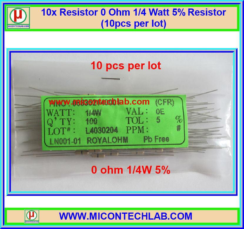 10x Resistor 0 Ohm 1/4 Watt 5% Resistor (10pcs per lot)