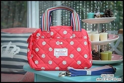 กระเป๋าถือ + สะพาย 2 ซิป เนื้อบุ