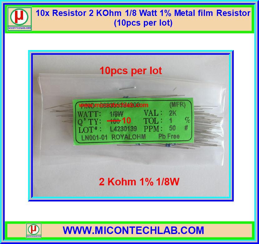 10x Resistor 2 Kohm 1/8 Watt 1% Metal film Resistor (10pcs per lot)