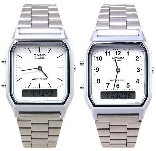 นาฬิกา CASIO นาฬิกาคู่ เรือนเงิน รุ่น AQ-230A-7D กับ AQ-230A-7B ประกันศูนย์ 1 ปี
