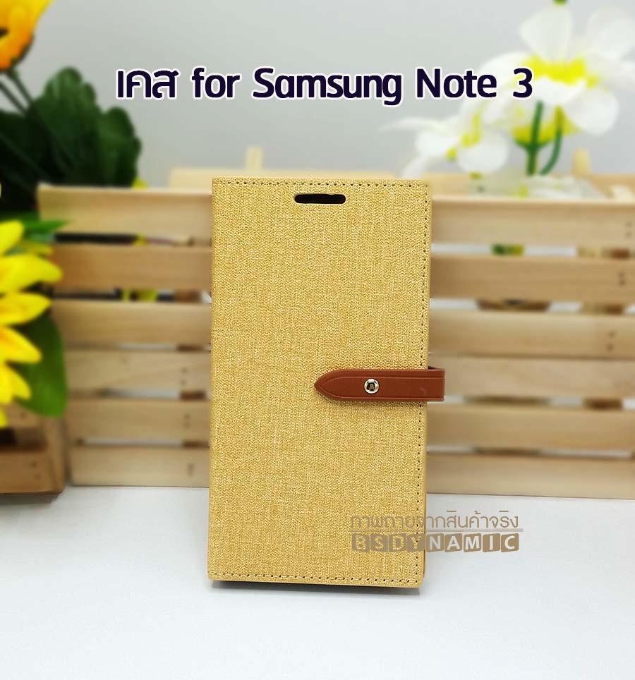 เคส Samsung Galaxy Note 3 ลายยีนส์ ฝาปิด ตั้งแนวนอนได้ สีเหลือง