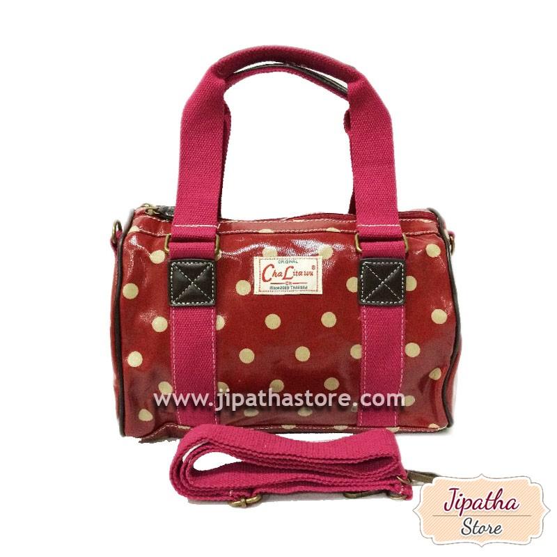 กระเป๋าทรงหมอน Chalita wu + สายสะพาย สีเลือดหมู ลายจุด