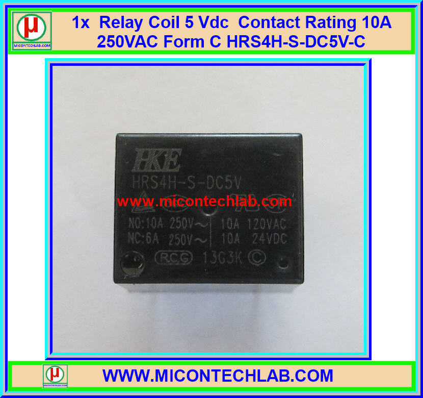 1x Relay 5 Vdc Rating 10A 250VAC / 24Vdc Form 1C HRS4H-S-DC5V-C