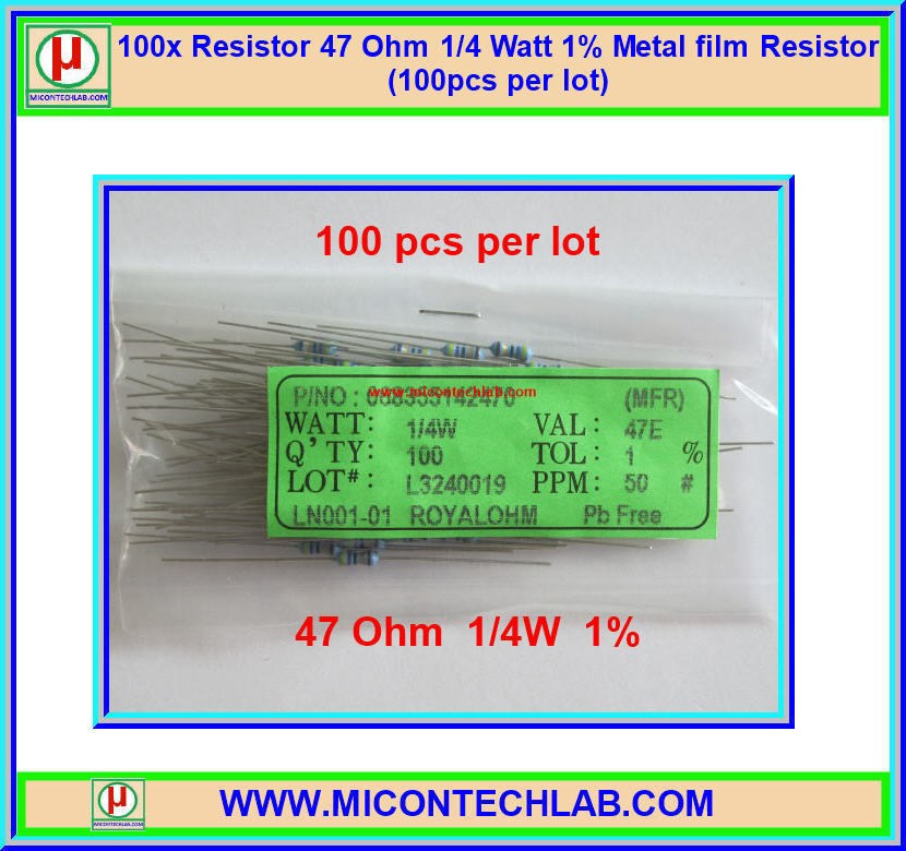 100x Resistor 47 Ohm 1/4 Watt 1% Metal film Resistor (100pcs per lot)