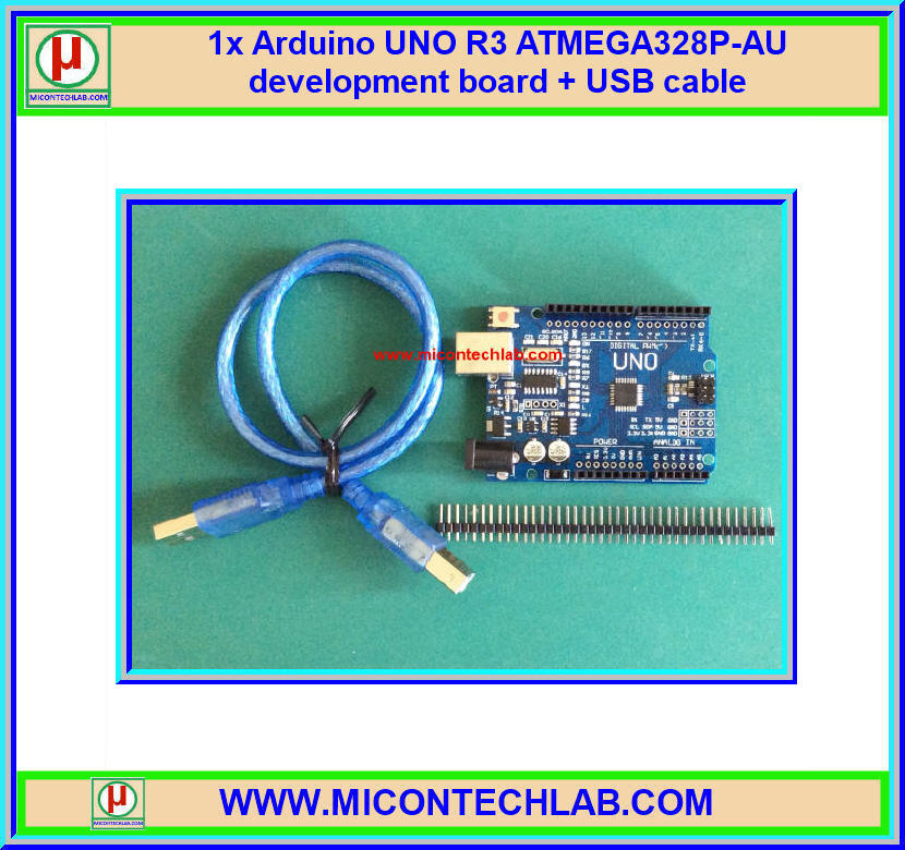 1x Arduino UNO R3 ATMEGA328P-AU development board + USB cable