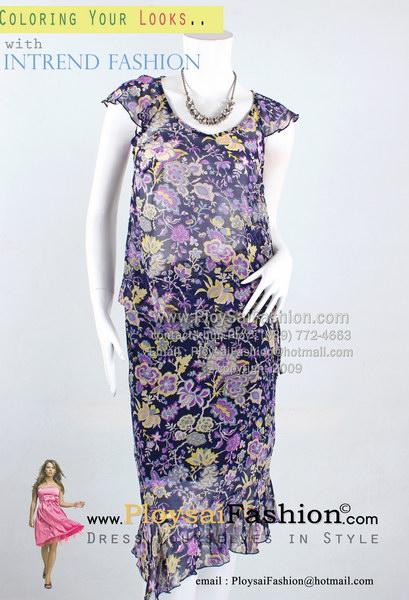pd2703 - ชุดเสื้อกระโปรงแยกชิ้น ผ้าซีฟองซีทรูสีกรมพิมพ์ลายดอกม่วง แขน+ชายแต่งระบาย ซับในช่วงกระโปรง สวยสุดๆเลยค่ะ