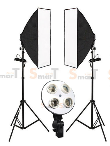 4 Holder Light Set with 2 Set Day light Lamp E27 Bulb With Softbox 50x70cm