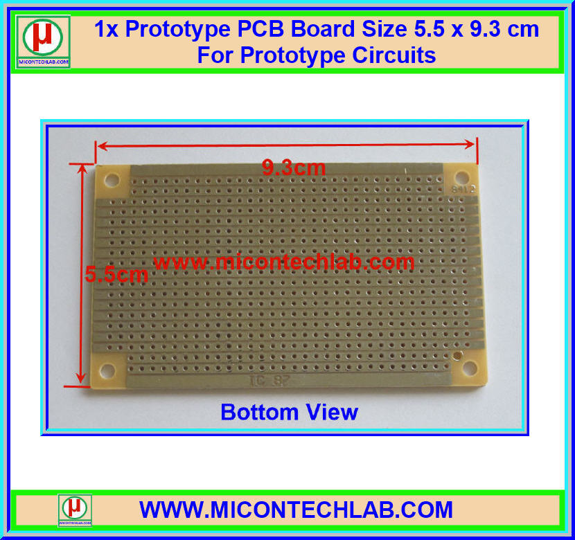1x แผ่นพีซีบี ชุบตะกั่ว ขนาด 5.5x9.3 ซม. (PCB)(M)