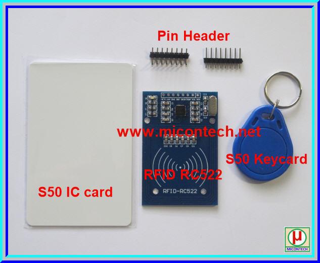 1x อาเอฟไอดี RFID RC522 Kits 13.56MHz with Key Tag + Card Tag