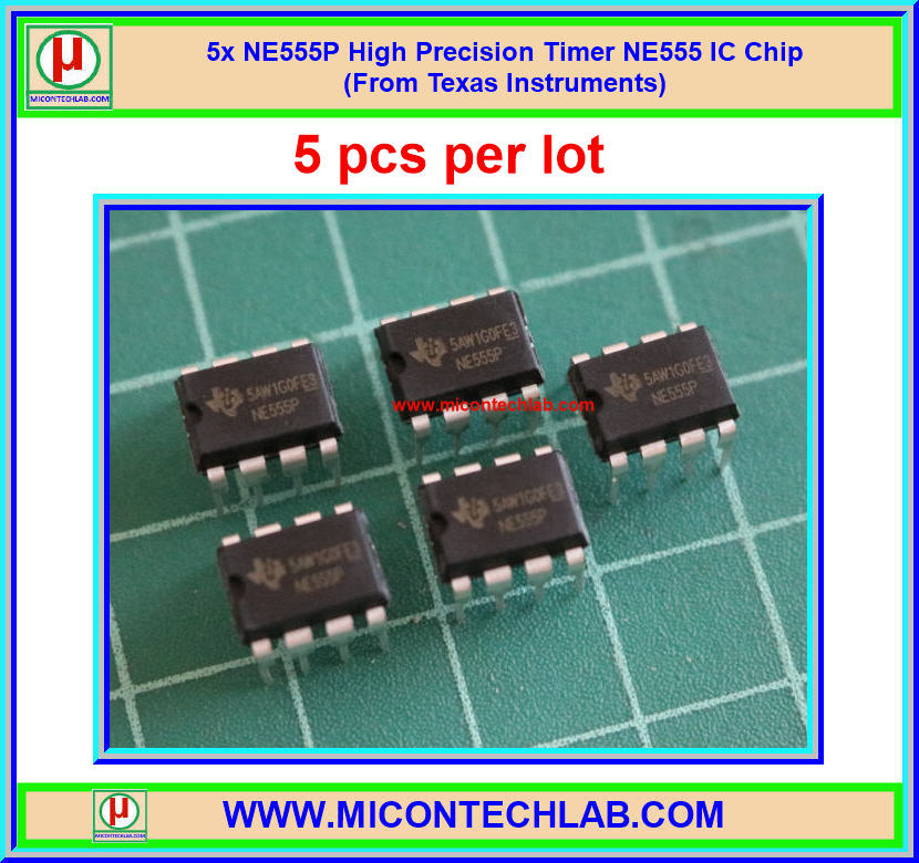 5x NE555P High Precision Timer NE555 IC Chip (From Texas Instruments)