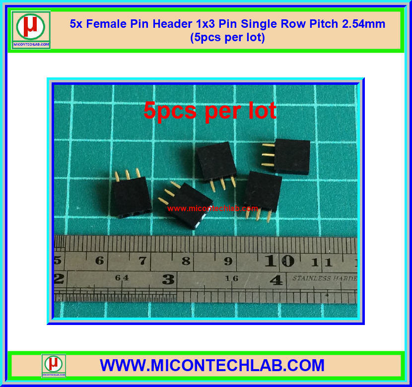 5x Female Pin Header 1x3 Pin Single Row Pitch 2.54mm (5pcs per lot)