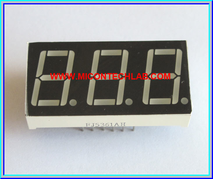 1x LED 7 SEGMENT 3 DIGIT RED Color Common Cathode 0.56 INCH