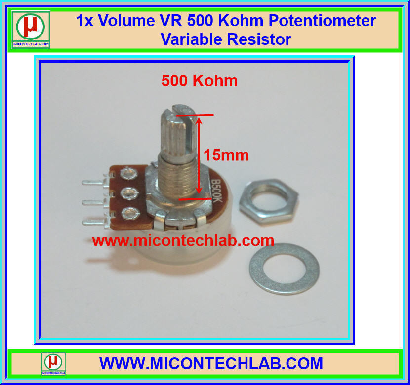 1x Volume VR 500 Kohm (15mm) Potentiometer Variable Resistor