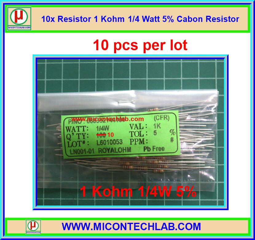 10x Resistor 1 Kohm 1/4 Watt 5% Cabon Resistor