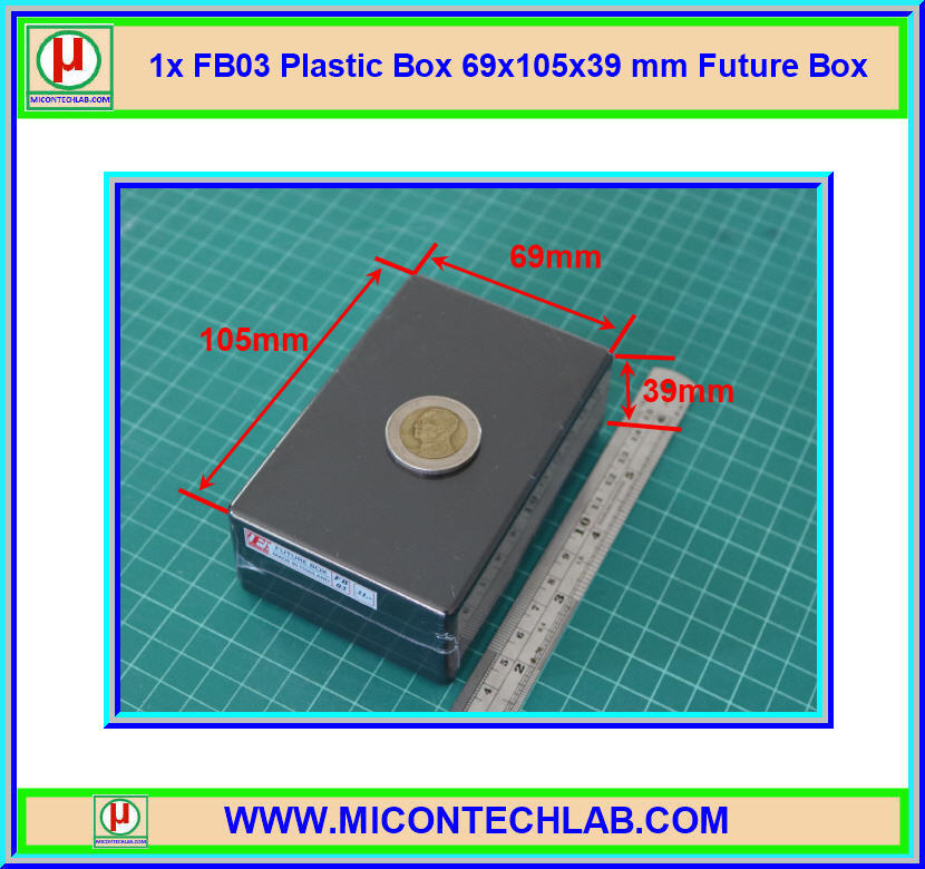 1x กล่อง FB03 สีดำ ขนาด 69x105x39 มม. Future Box