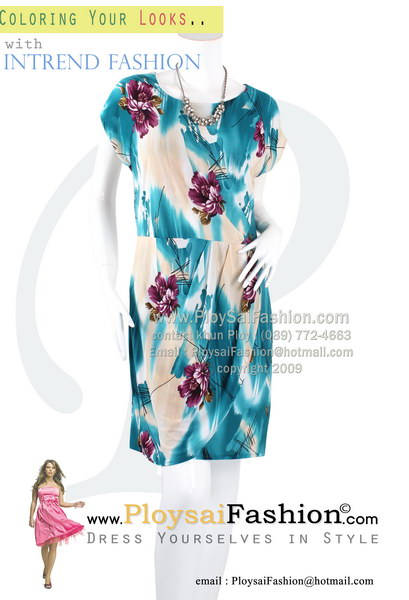hd1782 - ชุดเดรส ผ้าเกาหลีพิมพ์ลายโทนฟ้าแขนในตัว จับจีบด้านหน้า ซับในทั้งตัว สวยๆน่ารักๆค่ะ