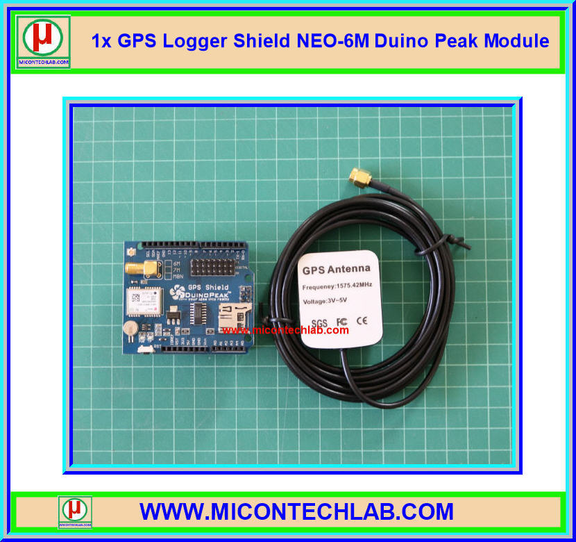 1x GPS Logger Shield NEO-6M DuinoPeak Module (โมดูลจีพีเอส)