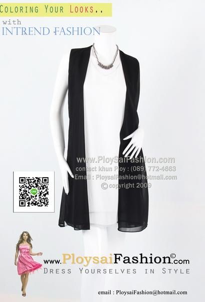 bw292 - เดรสสั้นแขนกุดขาวดำ ผ้าซีฟองตัดต่อผ้าขาวดำ สวยๆเรียบร้อยค่ะ