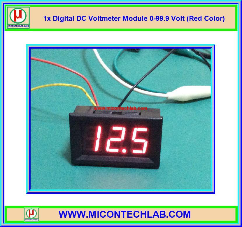 1x ดิจิตอลดีซีโวลต์มิเตอร์ 0-99.9 Vdc 3 สาย ขนาด 0.56 นิ้ว สีแดง (Digital DC Voltmeter)