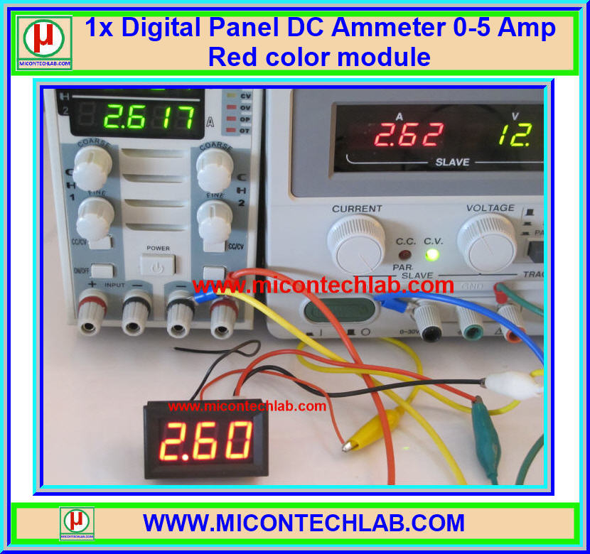 1x Digital Panel DC Ammeter 0-5 Amp Red color module