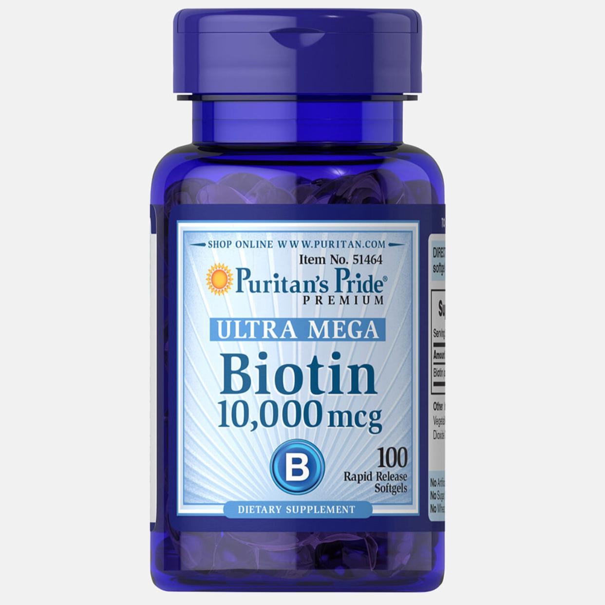 Puritan's Pride, Biotin 10,000 mcg, 100 Softgels