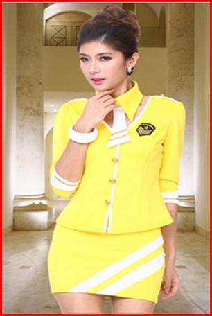ชุดแอร์โฮสเตรส สีเหลือง