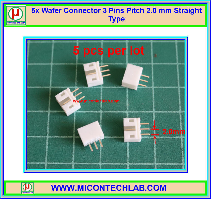 5x Wafer Connector 3 Pins Pitch 2.0 mm Straight Type