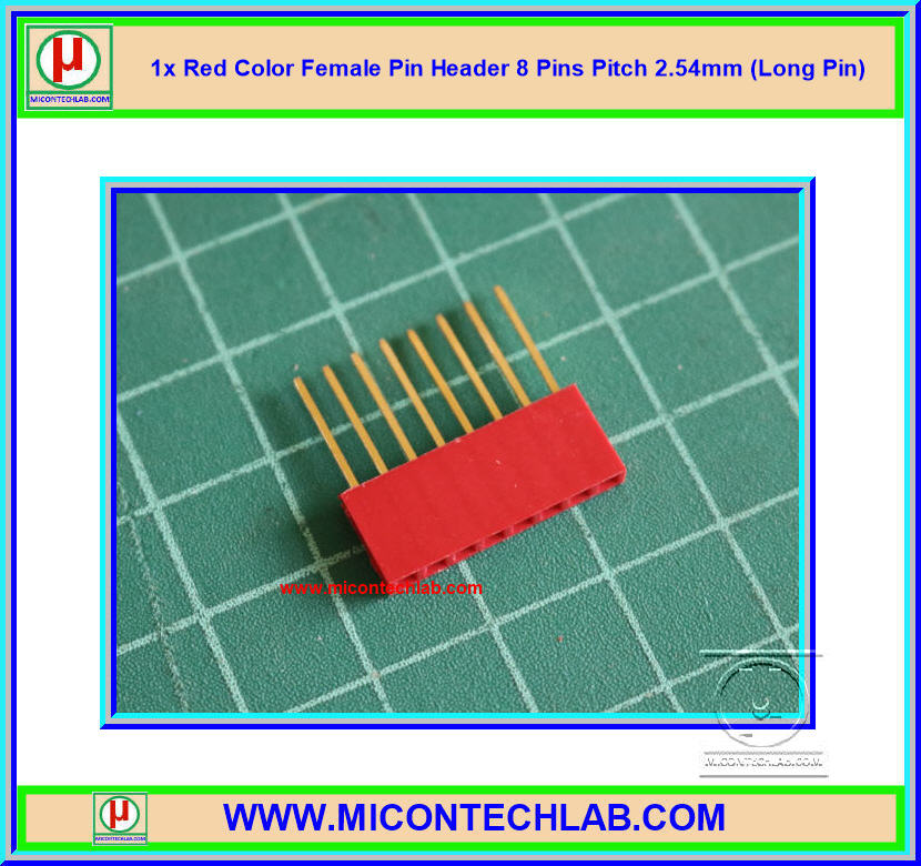 1x Red Color Female Pin Header 8 Pins Pitch 2.54mm (Long Pin)