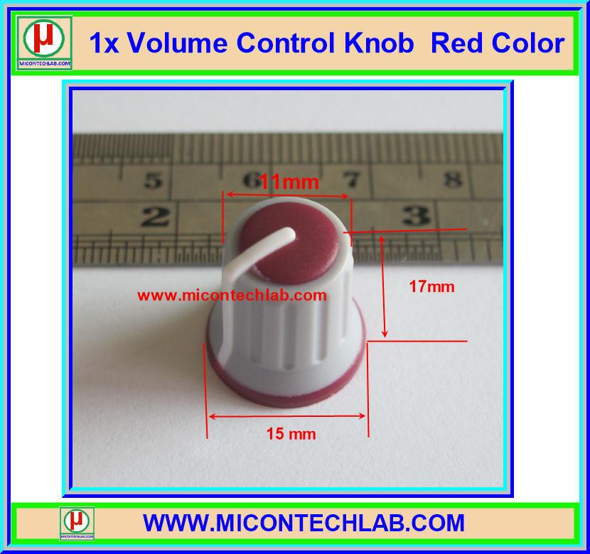 1x Volume Control Knob Red Color (ลูกบิดสำหรับวอลลุ่ม)