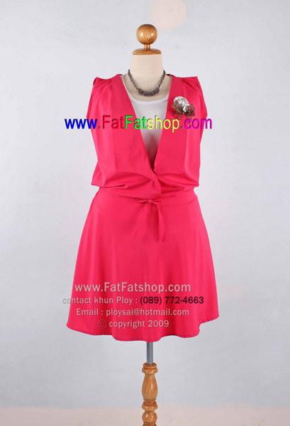 f024-45-50- เสื้อผ้าคนอ้วน เดรสแขนกุดไซส์ใหญ่ ผ้าหางกระรอก สีบานเย็น ยางยืดช่วงเอว สวยน่ารักใส่สบายๆค่ะ รอบอก 46 นิ้ว