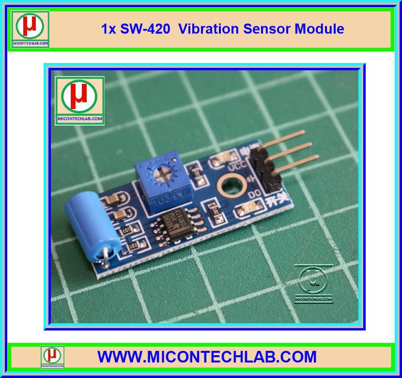1x เซ็นเซอร์ตรวจจับการสั่นสะเทือน SW-420 (Vibration Sensor)