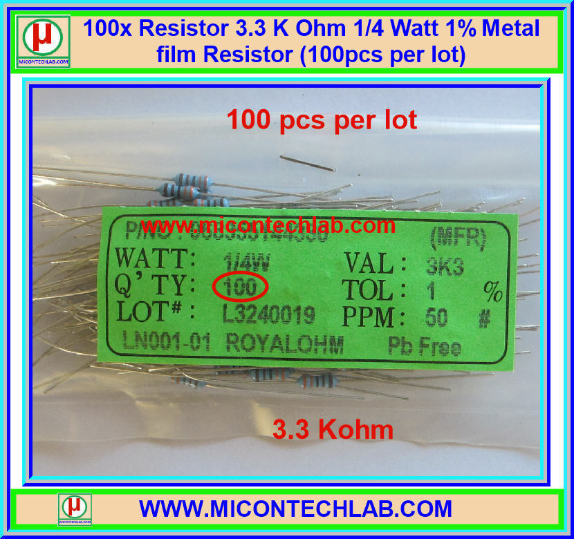 100x Resistor 3.3 KOhm 1/4 Watt 1% Metal film Resistor (100pcs per lot)