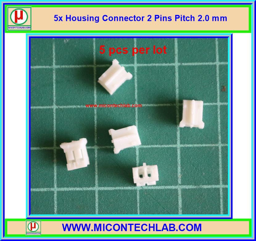 5x เฮ้าส์ซิ่งคอนเน็คเตอร์ พิทซ์ 2.0 มม. 2 ขา (Housing)