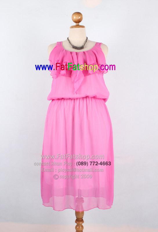 f006-42-44-ชุดกระโปรงคนอ้วน ผ้าซีฟองสีชมพู แต่งระบายช่วงอก ซับในทั้งตัว สวยๆหวานๆใส่สบาย รอบอก 42 นิ้ว